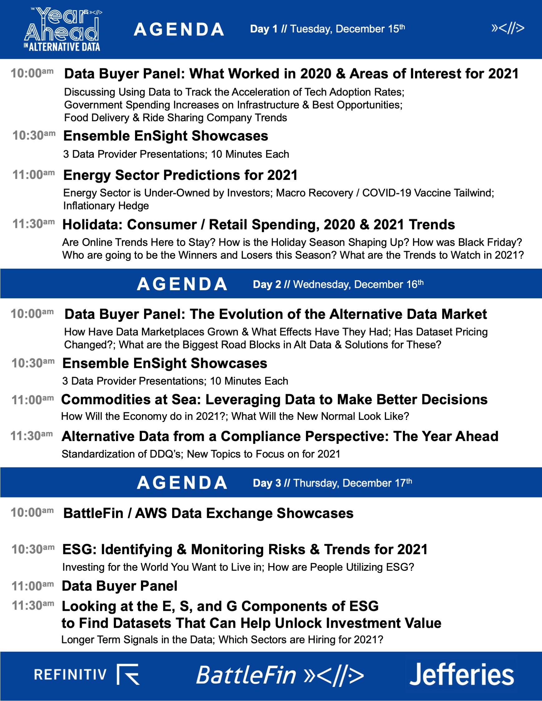 VDD December 2020 Agenda
